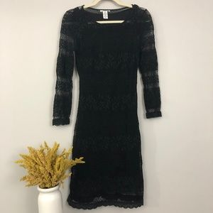 bar III Long Sleeve Lace Overlay Black Dress - XS